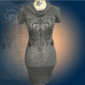 January 7 Charcoal Grey Bedazzled Dress/Tunic